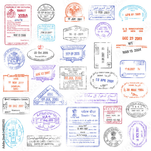Cuadros en Lienzo  High Quality grunge Passport Stamp collection