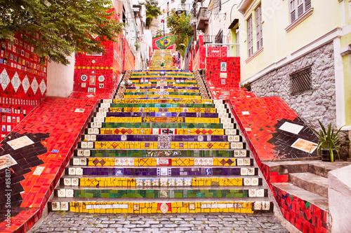 Tuinposter Rio de Janeiro Tiled steps in Lapa, Rio de Janeiro, Brazil
