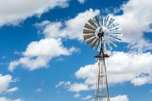 Windmill And Beautiful Blue Sky, USA.