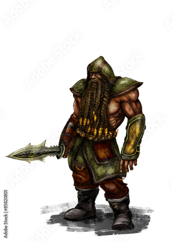 fantasy dwarf illustration Canvas Print