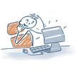 Strichmännchen am Schreibtisch und Computerlösung