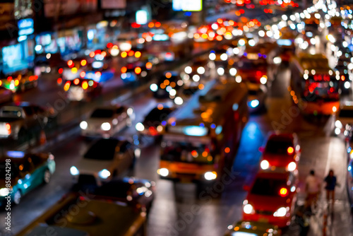Abstract blur of traffic jam in night time of Bangkok city. Wallpaper Mural