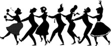 Black Vector Silhouette Of Group Of People Dressed In Late 1950s Early 1960s Fashion Dancing Conga Line, No White Objects, EPS 8