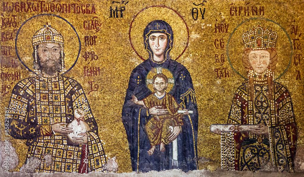 Fototapety, obrazy: Christian Icon Virgin Mary and Saints in Hagia Sophia, Istanbul