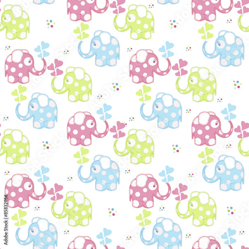 Poster Hibou Seamless pattern with colored elephants