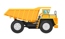 Yellow Mining Dump Truck Tipper Illustration