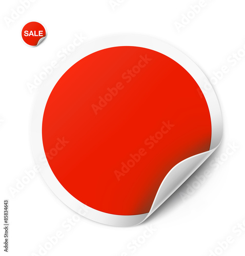 Fotografie, Obraz  Red round sticker isolated on white background