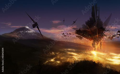 Fotografia  Alien ship flying over the night city lights background illustration