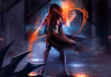 Fantasy Warrior Woman Attack With Fire Chains Action Illustration.