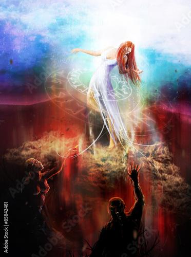 Fotografie, Obraz  Goddess in white dress fighting with hell demons illustration.