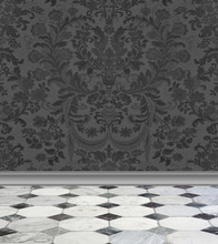 Gray  Damask Wall And Marble F...