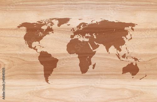 Foto op Aluminium World map on Wooden texture background