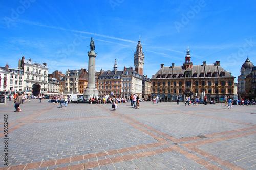 Lille (France) - Grand place avec  Vieille bourse, beffroi CCI et Colonne de la Fototapet