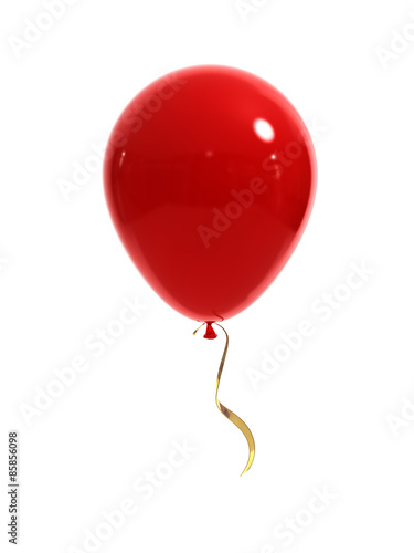 Deurstickers Ballon Red balloon with a gold ribbon on a white background. 3d render.