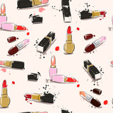 Hand drawing illustration with lipstick. Vector seamless pattern.