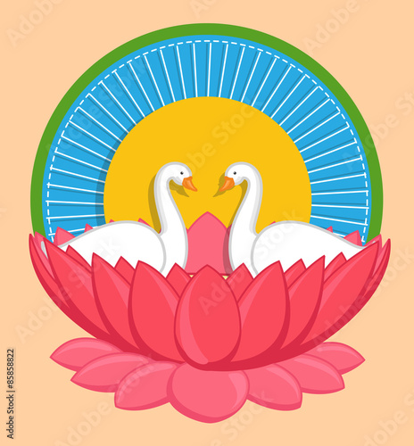 Cartoon swan birds in lotus flower indian background buy this cartoon swan birds in lotus flower indian background mightylinksfo