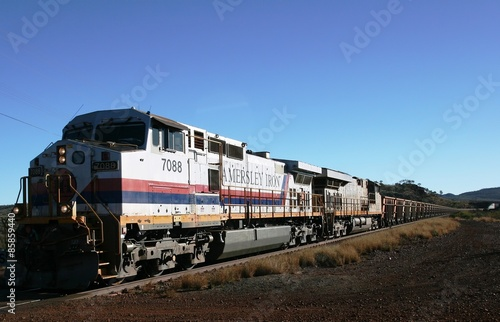 Fototapeta  Tom Price, Australia - 2008, July 4:  Hamersley Rio Tinto Iron ore train with tw