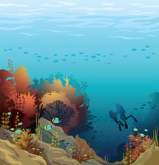 Fototapeta na wymiar Coral reef and silhouette of divers.
