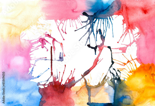 Canvas Prints Watercolor Face multicolored bright explosion