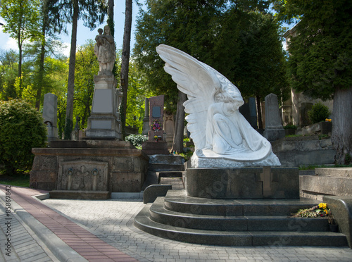Deurstickers Monument beautiful old cemetery in Lviv