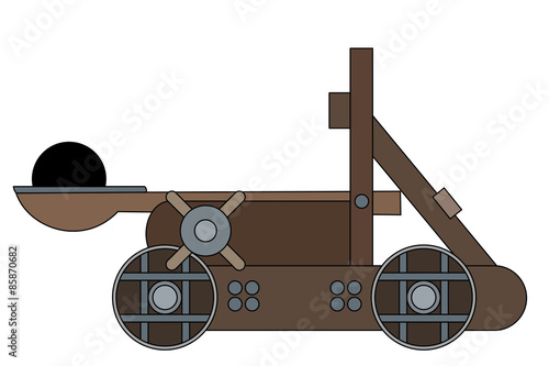 Fotografía  Illustration of a medieval siege weapon - catapult, isolated on a white backgrou