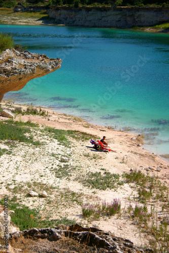 Fotografía  Lagunas de Ruidera 2006, bañistas en la playa de la Laguna Lengua, Ciudad Real