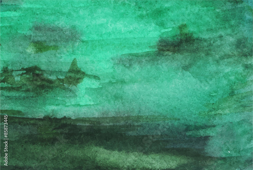 Fotomural Watercolor vector green emerald background