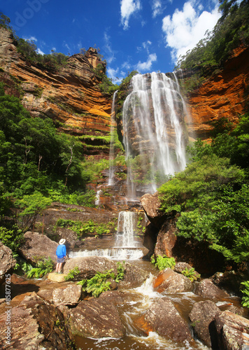 Foto  Wentworth Falls in the Australian Blue Mountains