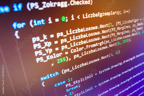 Photo  Programming code abstract screen of software developer.