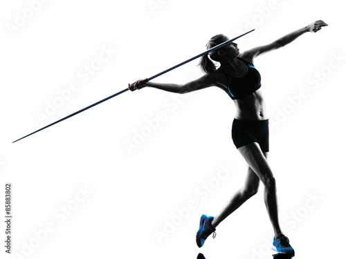 Fototapeta woman Javelin thrower silhouette obraz
