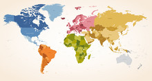 Vintage Colors Vector Political World Map