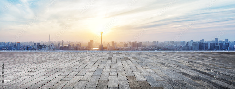 Fototapeta Panoramic skyline and buildings with empty wooden board