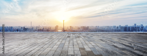 Obraz Panoramic skyline and buildings with empty wooden board - fototapety do salonu