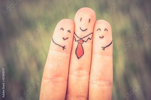 Fotografie, Obraz  Happy three fingers