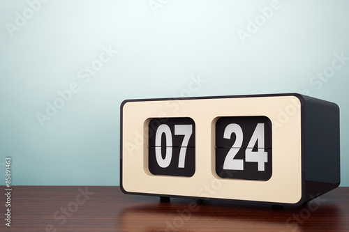 Old Style Photo. Vintage Flip Clock
