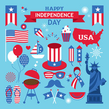 USA Independence Day Clip Art. July 4th Design Elements
