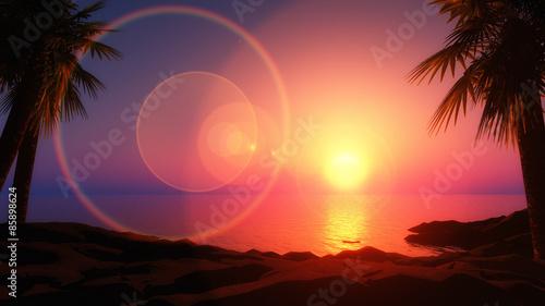 Fotobehang Zee zonsondergang 3D tropical island