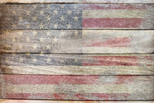 Stock Photo - Usa Flag Old School Wood Texture Background