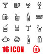 Vector grey beverages icon set
