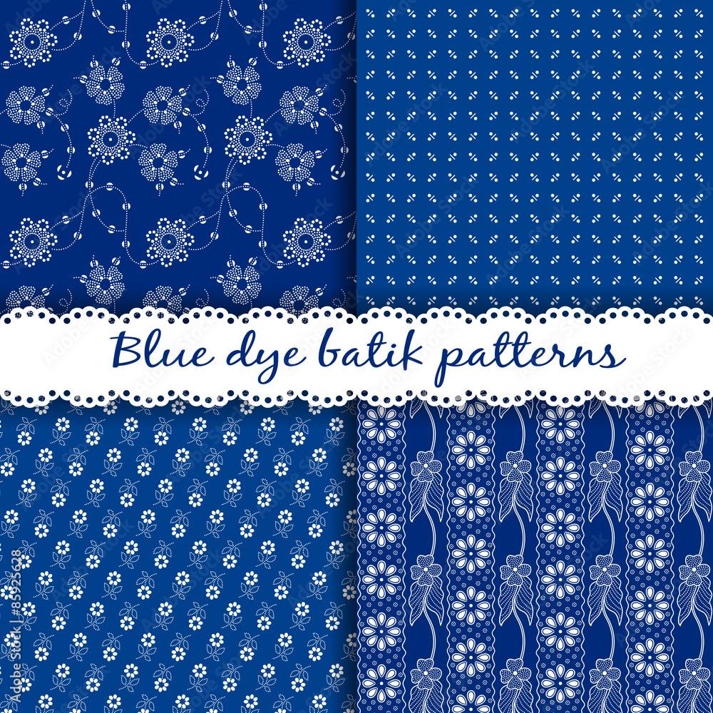 Set of traditional Hungarian blue dye batik patterns