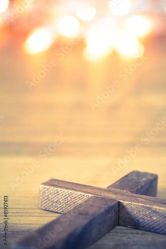 Fotografie, Obraz  Dřevěný kříž Christian