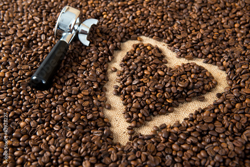 Deurstickers koffiebar heart in a lot of coffee beans with heart