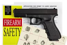 Pistol Handgun With Firearm Application And CCW Permit Fingerpri