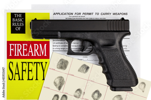 Fotomural Pistol Handgun with Firearm Application and CCW Permit Fingerpri