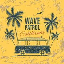 Grunge, Vintage, Retro Surf Van.