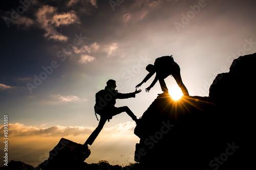 dağcı tırmanış ve yardımlaşması Canvas Print