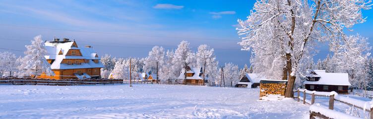 Rural landscape of traditional mountaineer village, Zakopane, Poland