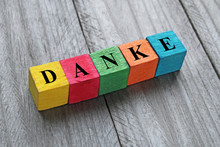 Word Danke (thank You In German) On Colorful Wooden Cubes