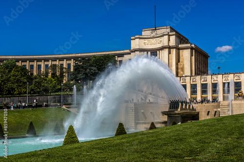 Valokuvatapetti Fountains at Tracadero gardens, Palais Chaillot, Paris, France