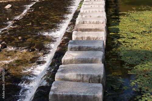 Fotografie, Obraz  stepping stones cross over a stream